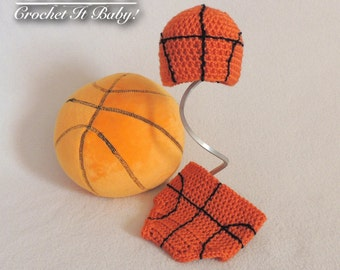 Crochet Basketball Hat and Diaper Cover Photo Prop Set (Newborn) - PATTERN ONLY