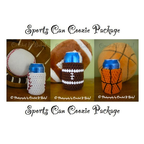 Crochet 3 Sports Can/Bottle Coozie - PATTERN ONLY