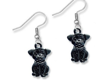 Enamel Black Pug Earrings