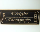 Large Custom Engraved Rectangle Bronze  Wooden Sign Great for Professionals 9 x 22""