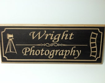 """Large Custom Engraved Rectangle Bronze  Wooden Sign Great for Professionals 9 x 22"""""""
