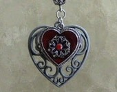 Red Metal Heart Pendant Necklace