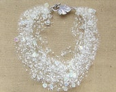 CUSTOM ORDER for  Aksiniya  Airy crochet bracelet with transparent glass seed beads