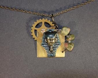 King Tut, Agate, Gear Necklace