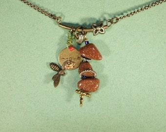 Gold Stone, Honey Bee, Imagine Necklace
