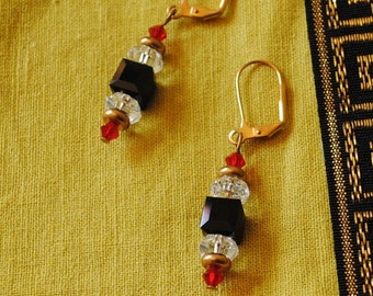 Black cube and red and crystal earrings