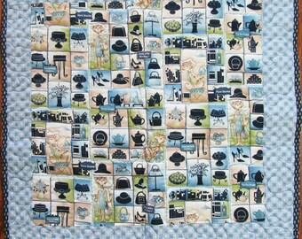 Cat Quilt, Pet Parlor, Kitty Quilt, Pet Quilt, Cotton Fabric  (C-15)