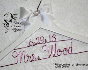 2 Line Date Personalized Bridal Hanger, Wire Name Hanger, Wedding Dress Hanger, Personalized Bridal Gift - Rush delivery available
