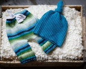 Newborn up-cycled pants, and hat photo prop set. Girl or boy blue green teal  stripes ready to ship.