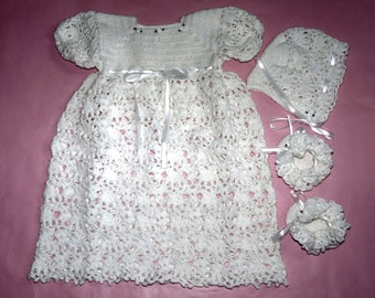 White Christening Gown, Bonnet and or Booties with Ribbon and Roses Detail