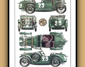Vintage Art Deco Poster - MG MIDGET M 1930s Poster Print in Full Color