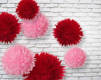 Tissue paper pom poms set of 7