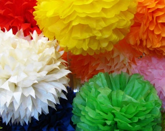 Tissue Paper Pom Poms Set of 9 - Parties/Decorations/Birthday decor/Nursery