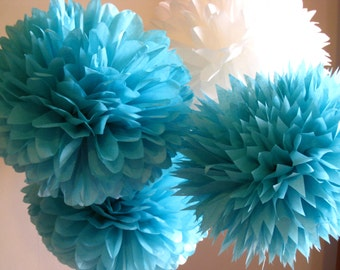 Tissue Paper Pom Poms Set of 21 /Ceremony/Decorations/Weddings/Parties/Baptism/Baby shower
