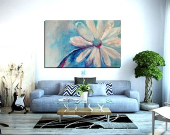 "Abstract canvas art, Flower painting, 20x32"", Wall art, Wall decor, Original Abstract Painting - Dragonfly Wing"