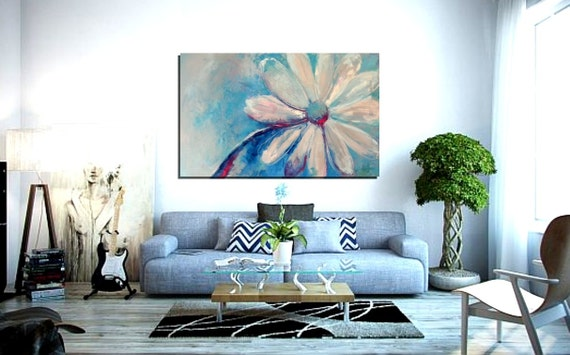 """Abstract canvas art, Flower painting, 20x32"""", Wall art, Wall decor, Original Abstract Painting - Dragonfly Wing"""