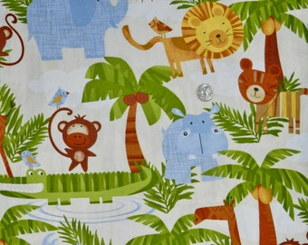 FLANNEL Zoo Fabric - Fabric by the Yard
