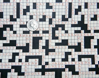 Snow Day Crossword - Fabric By The Half Yard 18 inches x 44 inches