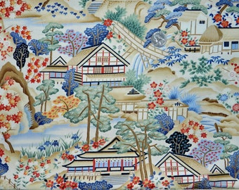 Lotus Rainbow Asian Village - Fabric By The Half Yard 18 inches x 44 inches - H