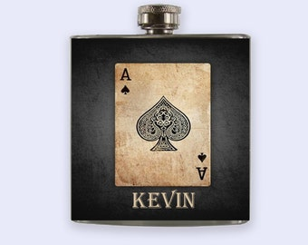 flask, rustic ace of spade Personalized Custom Flask, flasks