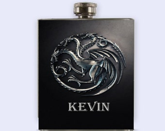 Game Of The Thrones Targaryen Flask,  Personalized Custom Flask,