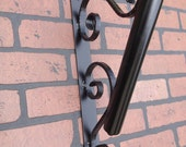Flag Pole Holder, Wall Mount, Wrought Iron with Black powder coated paint.