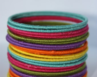Colorful Thread bangles set- bright colors