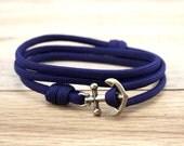 Nautical Bracelet - Paracord Bracelet - Anchor Bracelet - Mens Anchor Bracelet - Anchor - Nautical Bracelets - Summer Fashion - Navy Blue