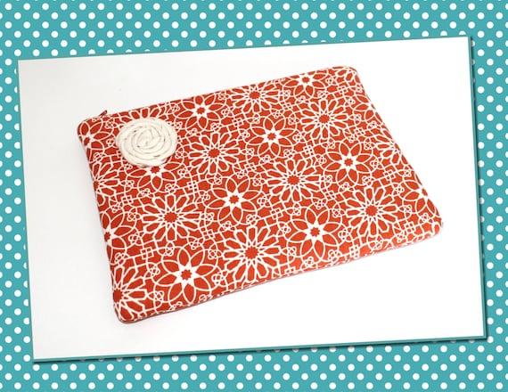 Rosie Posie iPad Case, Padded Zipper Case for iPad Kindle Nook or Laptop: Orange and Cream