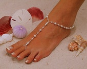 Barefoot Sandal - Simply Elegant  White Pearls and Silver Beads. Wedding shoes, Bridal Shoes, Beach Wedding Barefoot Sandals, Pearl Sandals