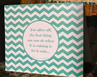the best thing one can do when it is raining is let it rain . chevron note card set (4x5) . 6 blank note cards with envelopes