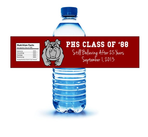 items similar to class or family reunion water bottle With class reunion water bottle labels