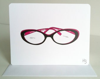 Hipster Eyeglasses Note Card - Eyemusement Brand Caroline Readers Greeting Card, blank inside, Glasses Card for Opthomologist