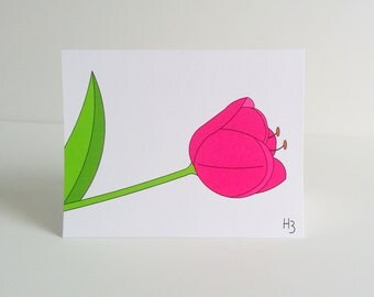 Hot Pink Tulip Note Card - Pink Spring Dutch Flower Stationery - perennial flower card