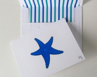Blue Starfish Card w/ Lined Envelope Coastal Starfish Greeting Card Beach Stationery Nautical Stationery Set Starfish Art Sea Star Note Card