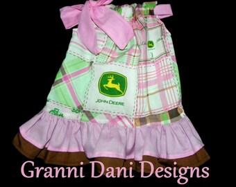 JOHN DEERE pillowcase dress patchwork  double ruffle 0 3 6 9 12 18 months 2t 3t 4t 5t toddler  baby infant girl