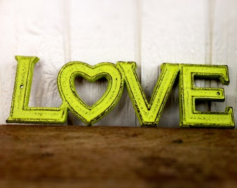 BOLD lime green retro LOVE sign // rustic distressed shabby chic metal // valentines heart teen room decor