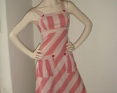 Vintage Summer Dress Ecru Red Spot and Stripe Detail Stippled Fabric Size XS Small