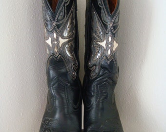 Vintage Southwestern Cowboy Boots Miss Capezio Black Leather Butterfly Foil Inlay Size 6 36