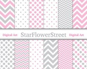 Chevron Polka Dot Girl Digital Paper Scrapbook Background - patterns soft baby pink grey gray scrapbooking 8.5x11 instant download