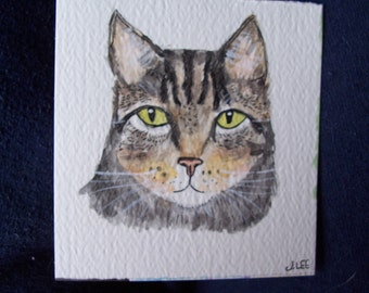 Tabby Cat ACEO Print Watercolor Pen & Ink