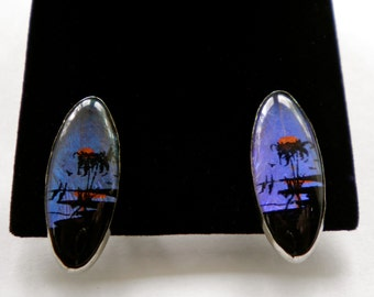 Vintage BUTTERFLY WING  Earrings   Tropical Palm Trees & Sunset  Florida Hawaii  1960s