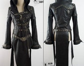 Women Gothic Vampiric Leather Coat size L
