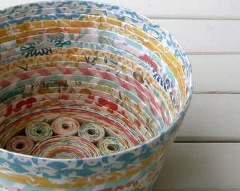 "Coiled Paper Basket / Bowl, Handmade - Cheerful, Multicolored Paper, 4"" Diameter"