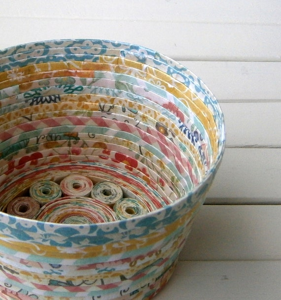 Handmade Basket Paper : Coiled paper basket bowl handmade cheerful multicolored