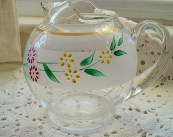 Vintage Pitcher Clear Glass Handpainted Flowers Small Round Water Juice Pitcher