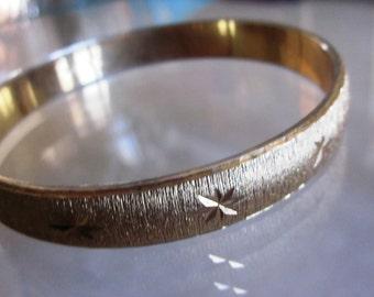 Vintage Gold Designer MONET Etched Gold Bangle Bracelet, Gift For Her