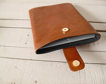 Leather Ipad case, hand made brown leather ipad sleeve, Leather cover