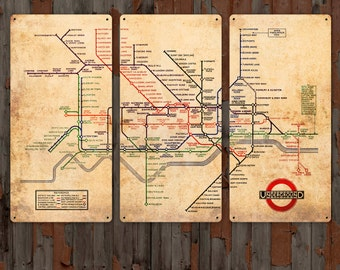 Vintage Map of London Underground  on METAL Triptych 34x23 FREE SHIPPING