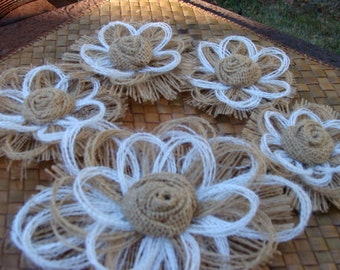 Southern Wedding Burlap Flower Set of 5 - Rustic - Country Western